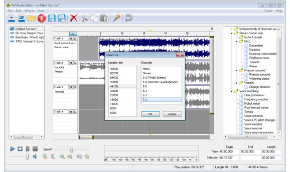 Modifica il file registrato da AV Audio & Sound Recorder